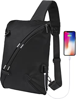 BECKY Sling Bag, Chest Shoulder Backpacks Bags Fashion Crossbody Rope Triangle Rucksack for Hiking or Multipurpose Daypacks for Man Women Lady Girl Teens (Black)
