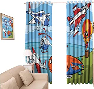 oobon Blackout Wide Curtains 108 Inches, Kids Airplane Cartoons Toy Planes Jets Helicopter and Hot Air Balloon Aircraft Ship Party s, for Bedroom and Living Room, 108x108 inch