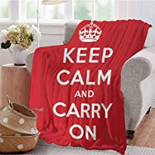 Summer Comforter Blanket Red and White Composition with Keep Calm and Carry On Text and a Royal UK Crown Red White Dorm Bed Baby Cot Traveling Picnic W60 xL80