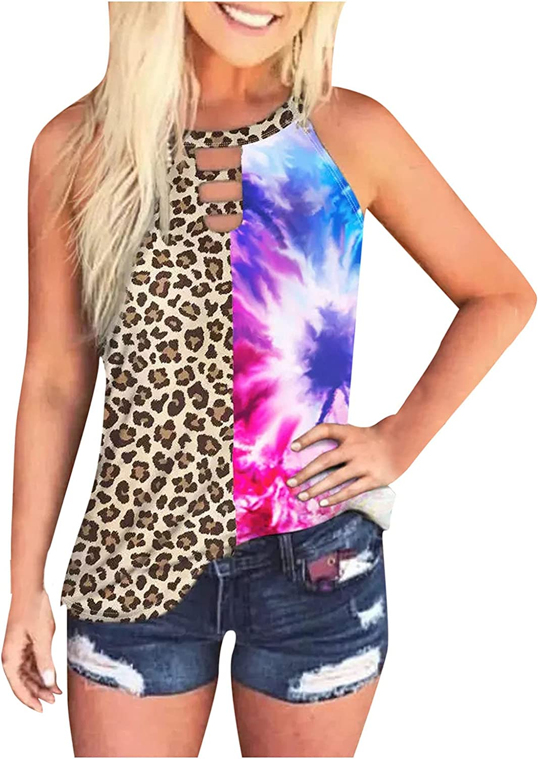 AODONG Womens Tank Tops,Womens Summer Casual Workout Sleeveless Loose Fit Tank Vest Tops Shirts Blouses Tunics