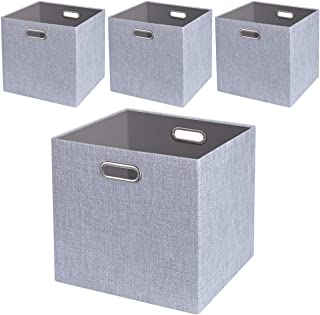 Foldable Storage Bins,13x13 Storage Cubes Basket Containers for Shelf Cabinet Bookcase Boxes,Thick Fabric Drawers,4pcs, Sliver Grey