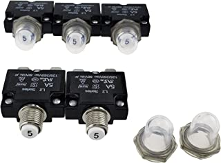IZTOSS 5PCS 5Amp Circuit Breakers with manual reset Waterproof Button transparent Cover DC50V AC125-250V with Quick Connect Terminals