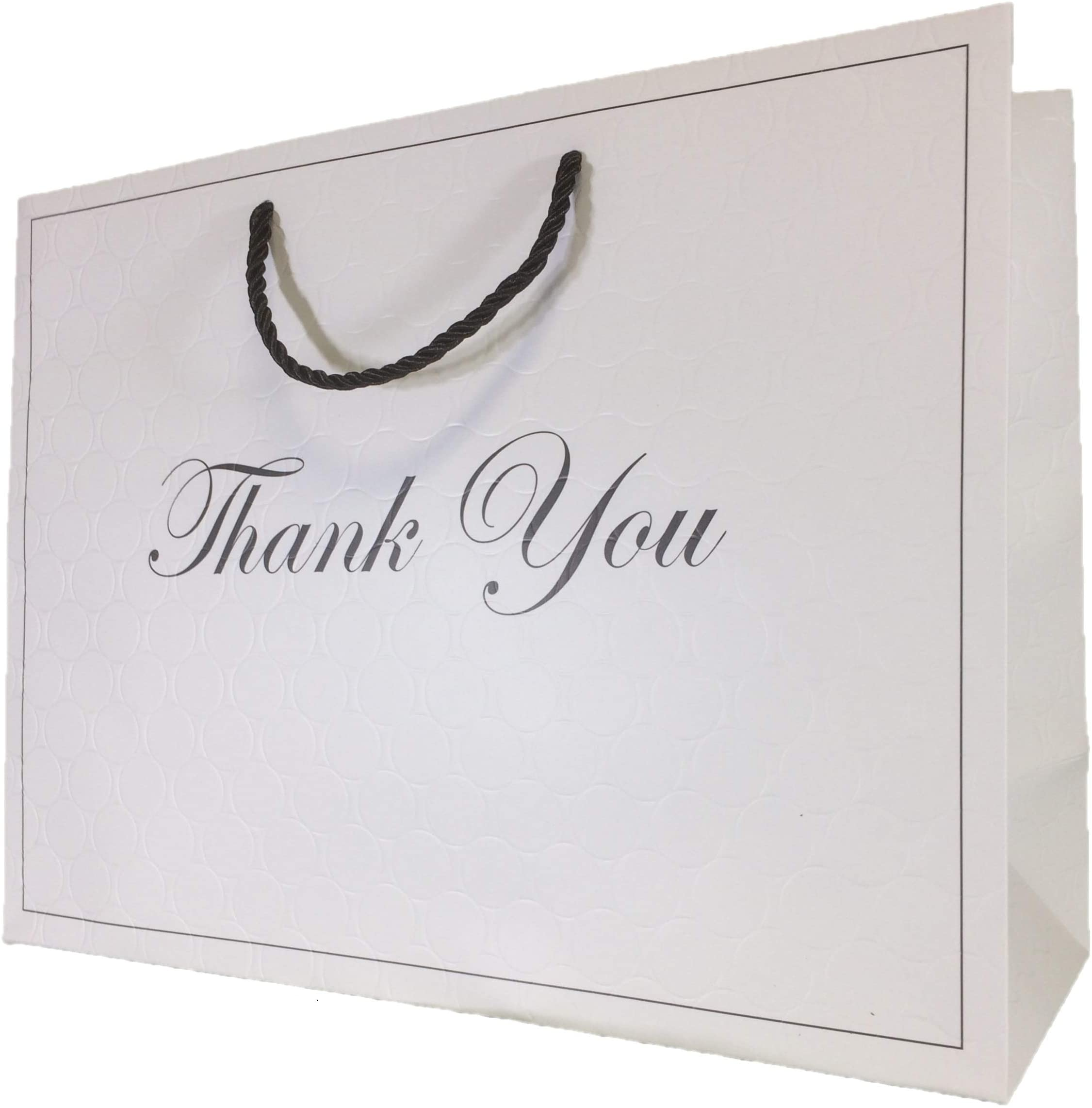 W x H x D Events and Special Occasions 400x300x130mm 5 Black Matt Laminated Boutique Gift Bags With Matching Rope Handles for Weddings