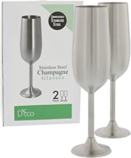 Stainless Steel Unbreakable Champagne Glasses- Set of Two 8 Ounce Champagne Flutes