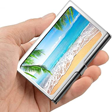 Palm Trees Hawaiian Tropical Seashore Beach Business Card Holder for Men Metal Business Card Holder for Men Professional Metal 3.81x 2.7 X 0.29 Inches Women Business Card Case