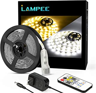 Dimmable LED Strip Lights, Lampee 16.4ft Daylight/Warm White Non-Waterproof Mirror Lights for Vanity Table 3000-6000K with 12V Power Supply for Kitchen, Bedroom, Under Cabinet
