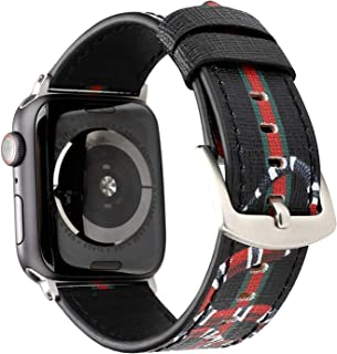 Compatible with Apple Watch 42mm/44mm Series 4/3/2/1 Genuine Leather Wristwatch Strap Belt Black Floral Prints Men's Wristwatch Bracelet Replacement for iwatch.(Black Snake-42/44mm)