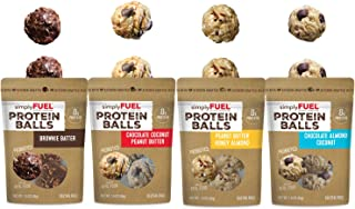 simplyFUEL Protein Ball Variety Pack | 4 Pack | 2 Balls Each | Probiotic + High Protein Whole Food Snack | Certified Organic Ingredients | 8 g Whole Food Protein | Gluten Free Oats | All 4 Flavors