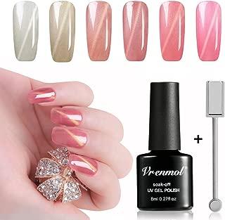 Vrenmol 6pcs Cat Eye Nail Gel Polish Pink Shining Set Soak Off UV/LED Lacquer Manicure Nail Art Kit 8ml + Free Magnet Stick