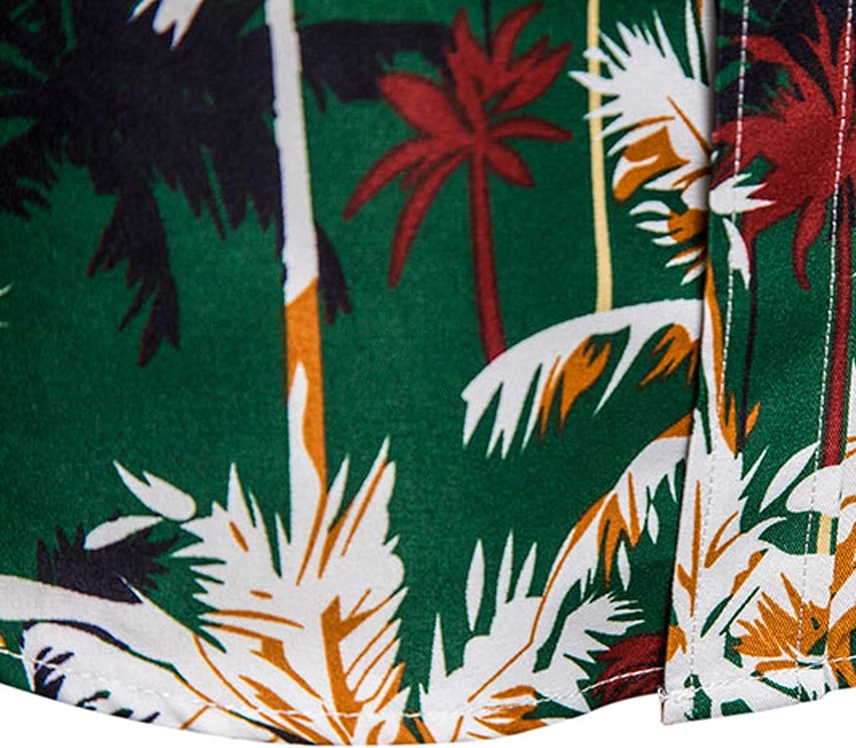 FORUU Mens Button Down Shirts 2021 Fall Long Sleeve Shirts Plus Size Printed Casual Shirts Lapel Loose Hawaiian Shirts