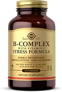 Solgar B-Complex with Vitamin C Stress Formula, 250 Tablets - Energy Metabolism, Nervous System & Immune Support - Non-GMO...
