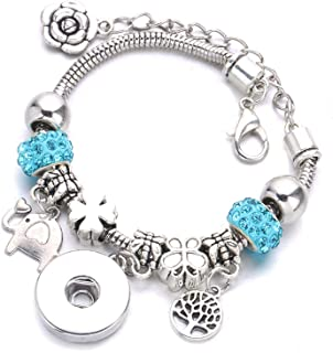 HOUBL New Silver Plated DIY Button Bracelet Pendant Crystal Chain with 18mm Button for Women's Accessories Wholesale A46 3