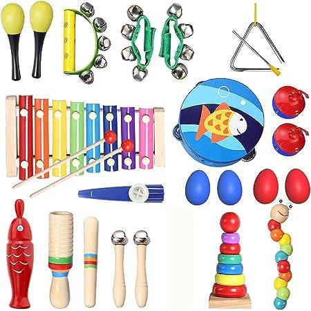 TOPERSUN 28PCS Instruments de Musique Enfant Jouets Musicaux Bois Cadeau de l'enfant Instrument Percussion Enfant Ensemble avec Xylophone, Tambourin, Triangle et Autre Instrument