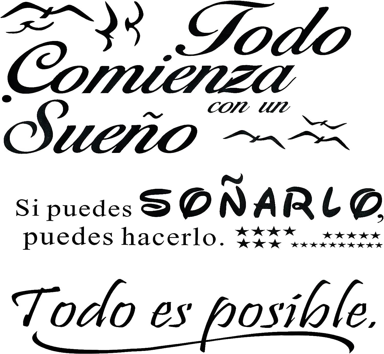 3pcs Pegatinas Pared Vinilos Frases Letras Español Motivadoras Citas Inspiradoras Stickers Adhesivos Negro Decorativos Habitación Dormitorio Salón Oficina