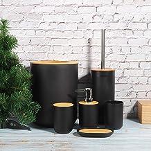 Set van 6 accessoires voor de badkamer, zeephouder, tandenborstelhouder, beker, lotionfles, wc-borstel, PP + bamboe (zwart)