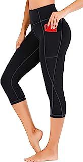 Heathyoga Capri Leggings for Women with Pockets High Waisted Yoga Pants with Pockets for Women Workout Leggings