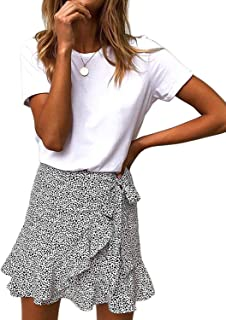 5c88785dd0 Salamola Women's Leopard Asymmetrical Ruffles High Waist Printed Cute  Casual Mini Skirt
