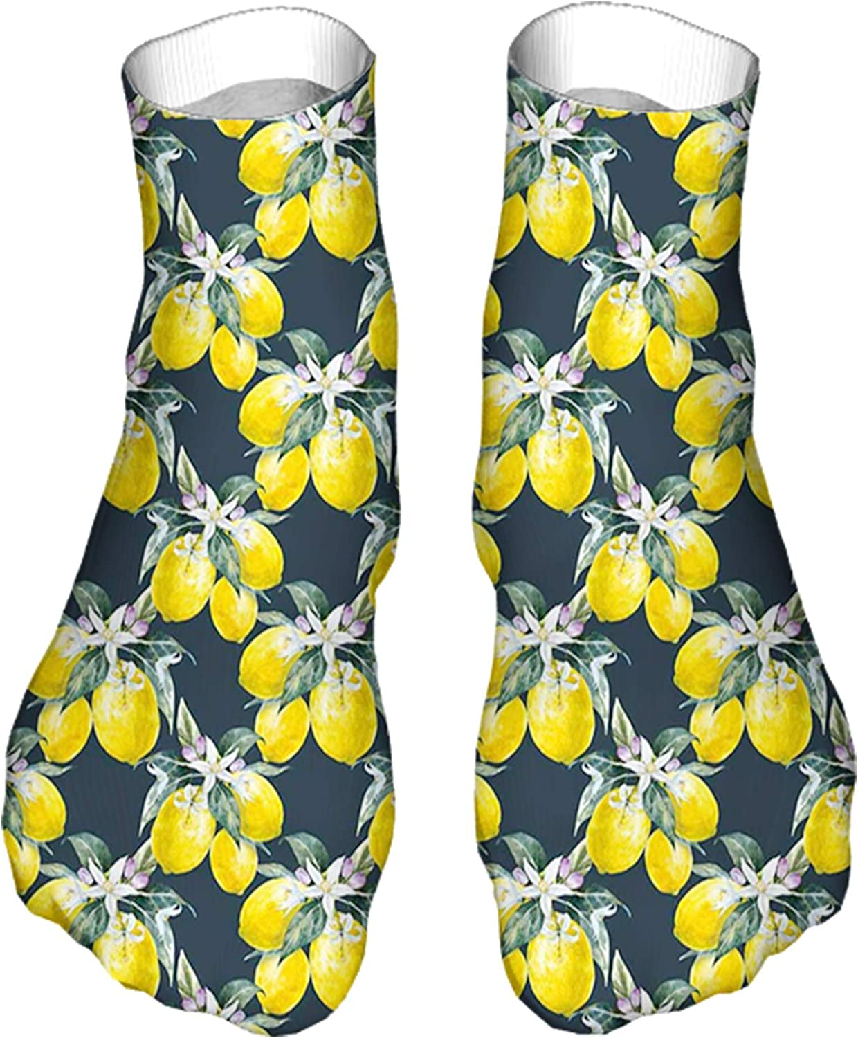 Men's and Women's Fun Socks Printed Cool Novelty Funny Socks,Lemon Tree with Flowering Plant Blooms Botany Eco Evergreen