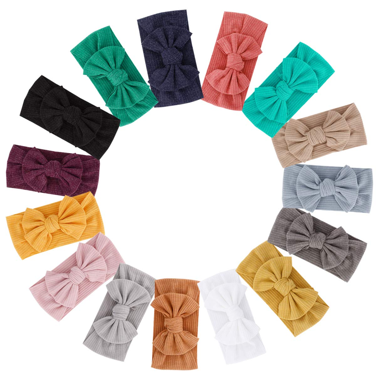 15pcs Baby Super Stretchy Nylon Knotted Headbands Baby Headwraps Baby Headbands Bows (MQ139)