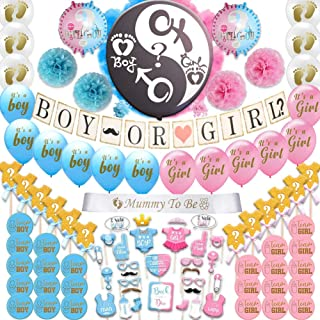 Happybell Gender Reveal Decorations 95 Pieces with 36 Inch Reveal Black Balloon and Boy Or Girl Banner, Premium Party Supplies Kit with Balloons, Photo Props, Cupcake Toppers, Stickers, Pom Poms and Sash for Mommy To Be