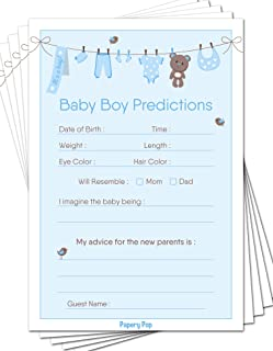 Baby Predictions and Advice Cards (Pack of 50) - Baby Shower Games Ideas for Boy - Party Activities Supplies