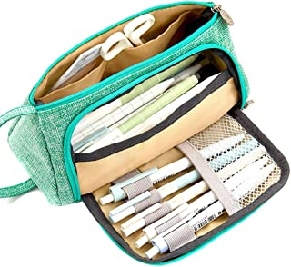 Loosnow Large Capacity Pen Storage Bag Canvas Pouch Pencil Stationery Case Holder for School Office