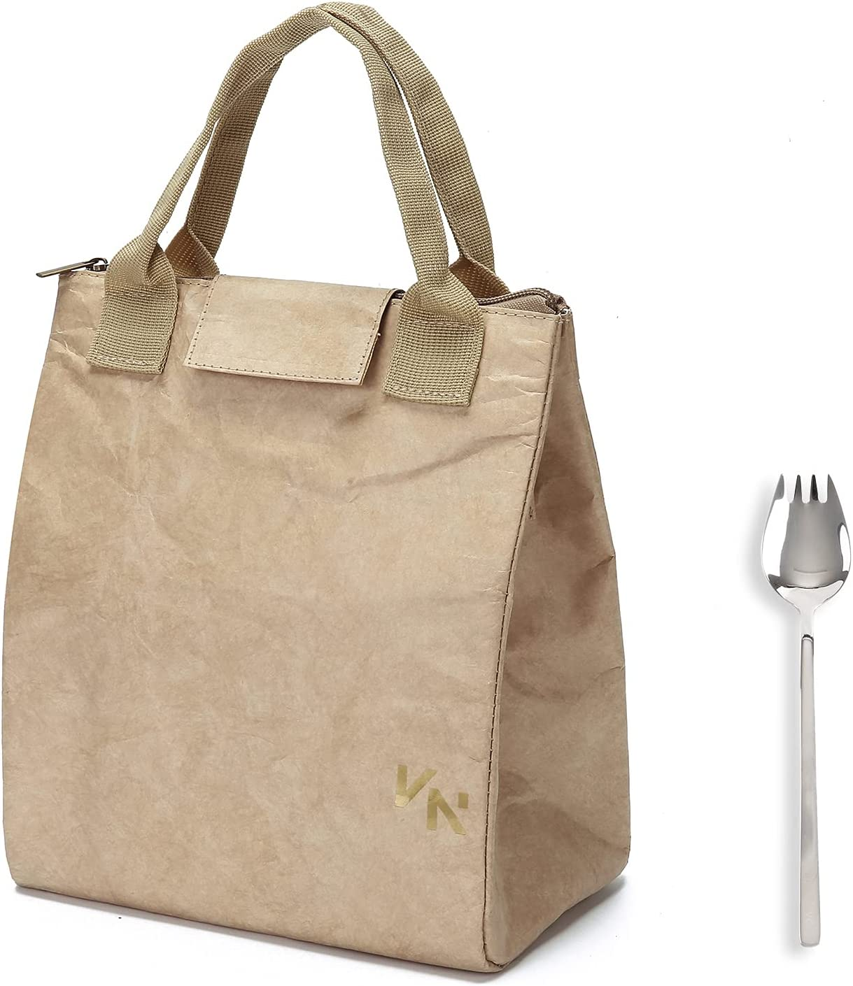 VonNova Tyvek Lunch Bag Insulated Large Lunch Tote Bag Reusable Thermal Food Container Durable and Leakproof Snack Bags Lunch Bag for Women Men Adults College Work Picnic Hiking (Beige)
