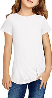 Arshiner Girls Casual Shirt Loose Short Sleeve Knot Front Tops Tees for Size 5-13 Years