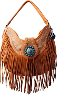 Fringe Concho Buckle Western Purse Concealed Carry Shoulder Handbag