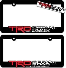 TRD OFF ROAD (2) License Plate Frames Toyota Racing Development 3D Letter Frame Brackets (1-Pair)