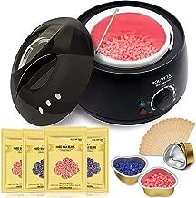 Wax Warmer - Bouvetan Waxing Hair Removal Kit with 4 Hard Wax Beans(14.1oz) and 20 Wax Applicator Sticks (at-Home Waxing)