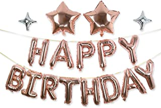 Happy Birthday Balloons, GoldenSunny Foil Balloon Letters Mylar Balloons and Star Foil Balloons for Birthday Party Decorations and Supplies, Rose Gold