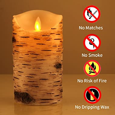 """Comenzar Flickering Candles, Candles Birch Set of 3 (H: 4"""" 5"""" 6"""" x D: 3.25"""")Birch Bark Battery Candles Real W"""