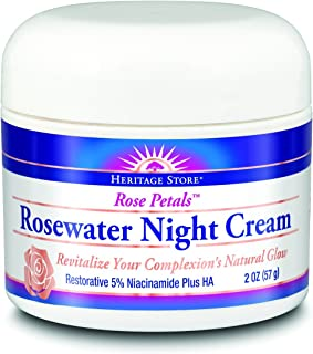 Heritage Store Heritage Store Rose Petals Rosewater Night Vegan, Cream, Rose (btl-plastic) 2oz, 2 Ounce