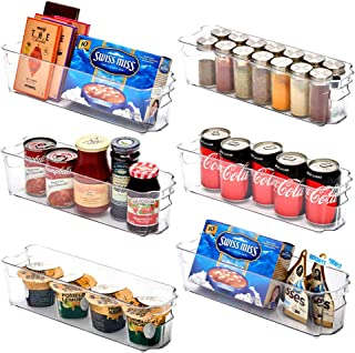 EZOWare Panier de Rangement en Plastique, Grand Bacs de Rangement, pour Frigo, Réfrigérateur, Congélateur, Cuisine, étagèr...