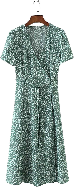 V Neck Floral Pattern midi wrap Dress Cherry Dress Bow tie Cross Design Short Sleeve Retro