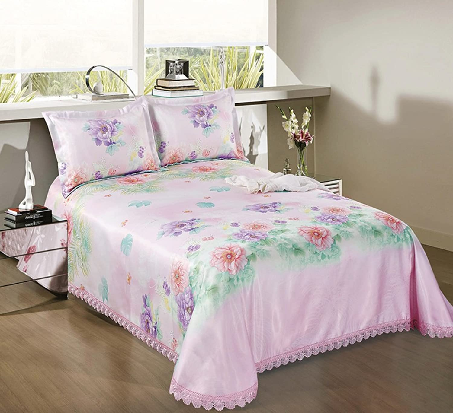 Washed Mat Sheet Linen Printing Lace Ice Silk Mat Three Sets ZXCV (color   1, Size   1.8  2m)