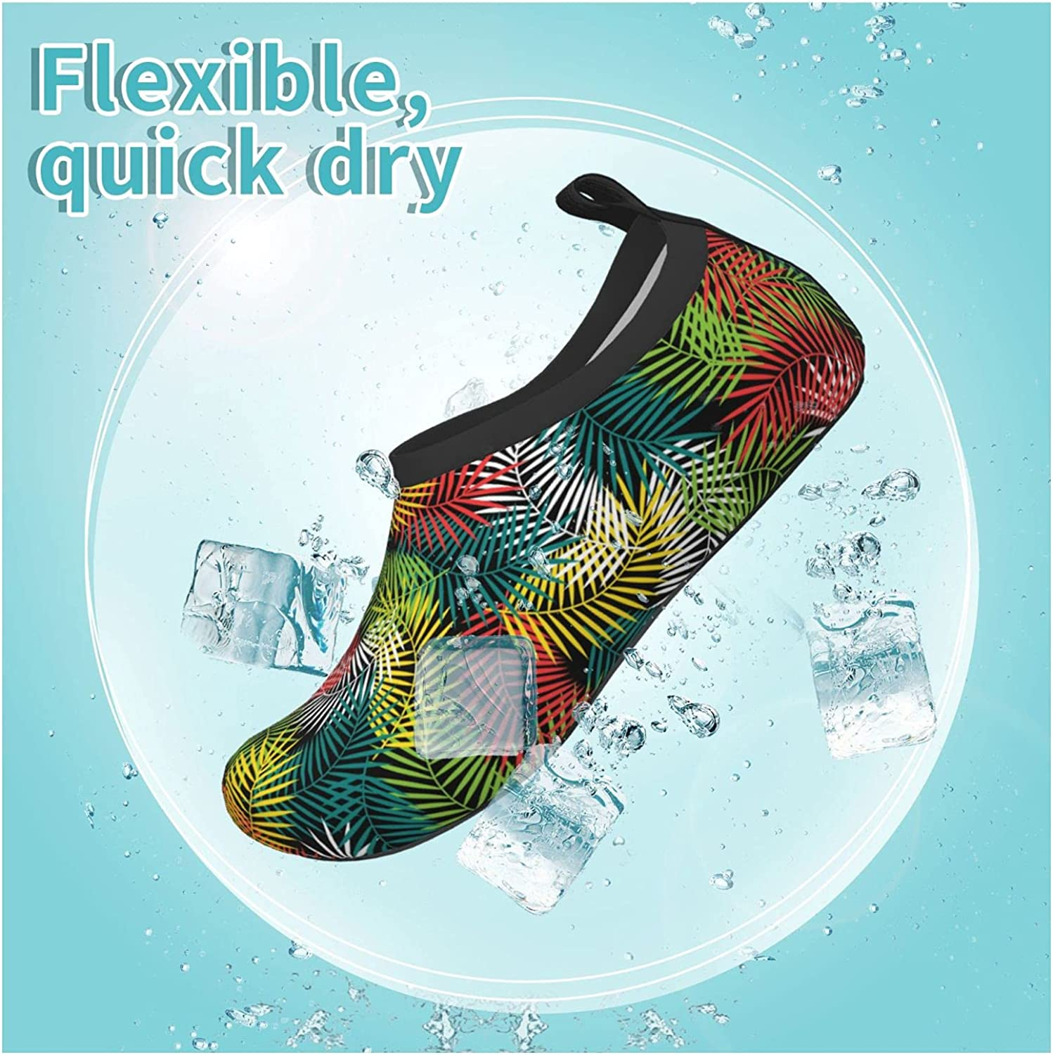 Jedenkuku Colorful Leaves Coconut Style Hawaii Children's Water Shoes Feel Barefoot for Swimming Beach Boating Surfing Yoga