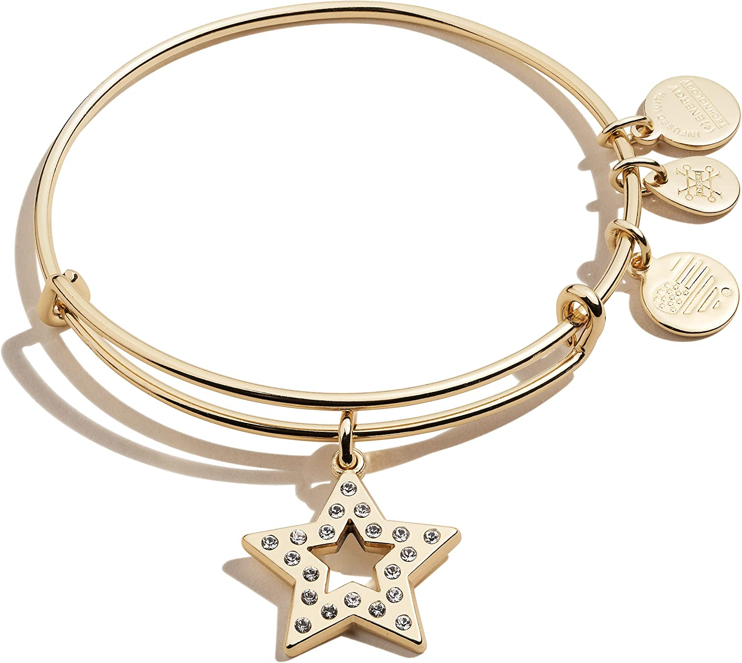 Alex and Ani Path of Symbols Expandable Bangle for Women, Pave Star Charm, Shiny Gold Finish, 2 to 3.5 in