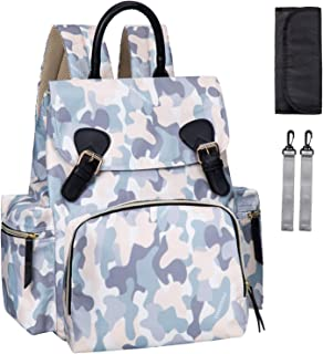 Diaper Bag Backpack, Multifunction Back Pack Maternity Baby Nappy Bags for Mom Dad Large Capacity Waterproof and Stylish with Changing Pad and Strollers Camouflage