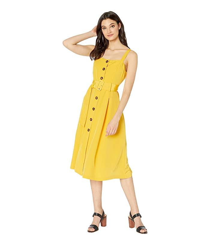 J.O.A. Buttoned Down Dress with Belt (Marigold) Women