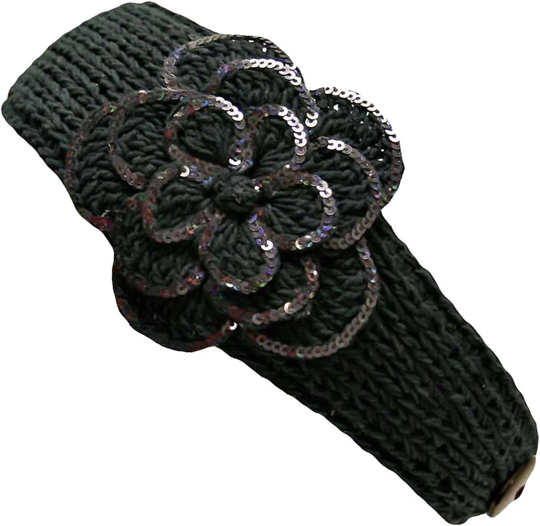 Crochet Headband With Sequin Flower