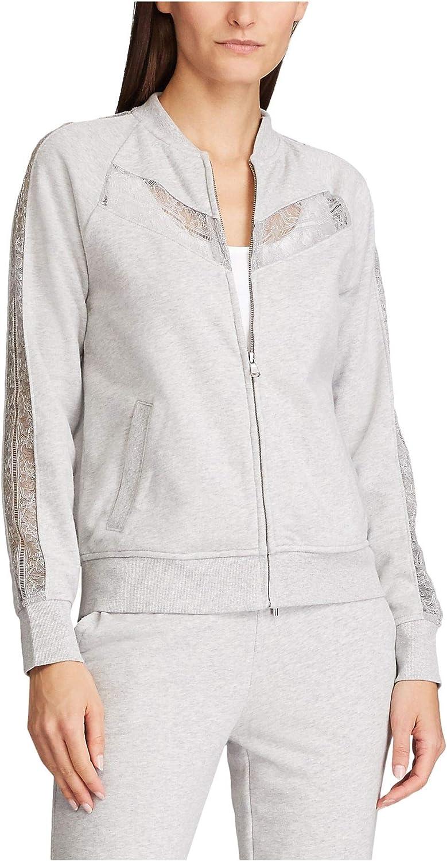 RALPH LAUREN Womens Gray Lace Zip Up Jacket Size L