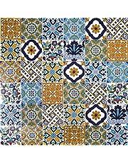 Cerames, Tunesische keramische tegels Wati - 50 oosterse Tunesische decoratieve tegels 10 x 10 cm voor de badkamer, de keuken, onder de trap. Gekleurde decoratieve tegels.