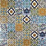 Cerames, baldosas de cerámica marroquí Wati - 50 baldosas decorativas tunecinas orientales de 10 x 10 cm para el baño, la cocina, debajo de las escaleras. Azulejos decorativos de colores.