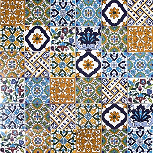 Cerames, piastrelle ceramiche tunisine Wati - 50 piastrelle decorative tunisine orientali 10 x 10 cm per il bagno, la cucina, sotto le scale. Piastrelle decorative colorate.
