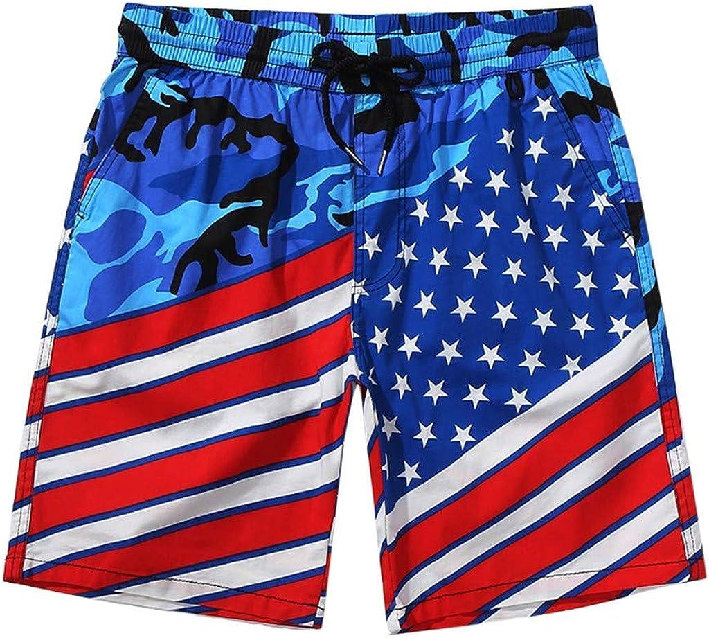 MODOQO Shorts Pants for Men-Summer Fashion American Flag Printed Loose Drawstring Shorts