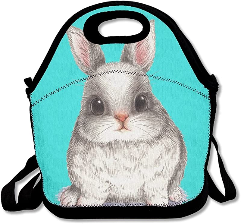 Cute Easter Rabbit Bunny Mint Green Lunch Bags Insulated Travel Picnic Lunch Box Tote Handbag With Shoulder Strap For Women Teens Girls Kids Adults