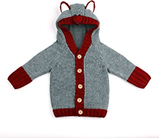 Baby Girls' Spring Knit Cardigan Toddler Boy Jackets Long Sleeve Button Up Hooded Outwear