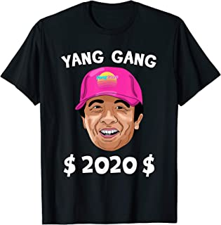 Yang Gang 2020 Vaporwave Pink Hat Cartoon Andrew Yang T-Shirt